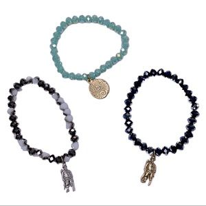 Set of 3 Beaded Stretch Pirate Charm Bracelets
